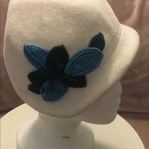 Winter white hand made vintage hat